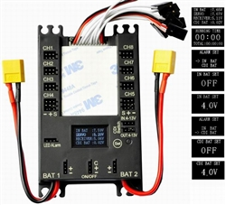 RCCSKJ - DragonRC 4106 Dual Power Distribution Board, 20A BEC, 9 Channels, connect up to 16 servos, real time voltage display and warning, CDI switch